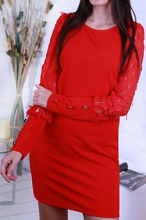 Едноцветна дамска рокля с ефектни изрязани ръкави 8651