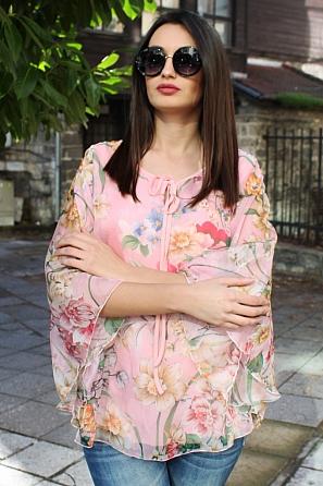 Шифонена блуза на цветя с ефектен ръкав и връзки 9031