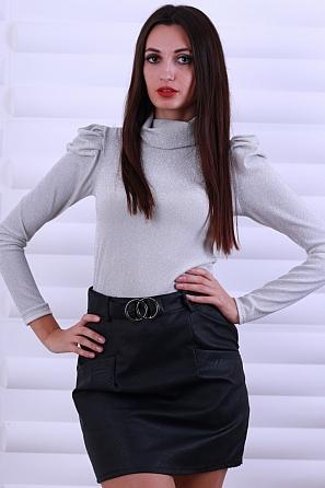 Дамска поло блуза ламе с буфан ръкави 8613