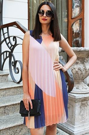 Шифонена дамска рокля солей няколко цвята 90683