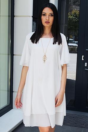 Едноцветна шифонена дамска рокля с къси ръкави 9075