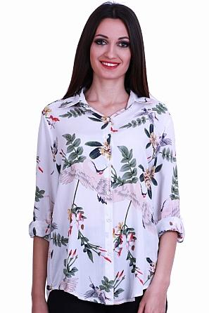Памучна дамска риза с цветни мотиви 8382