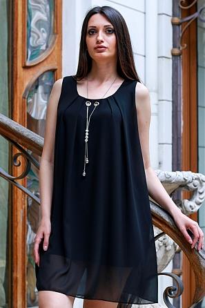 Едноцветна дамска рокля/туника с аксесоар 9086