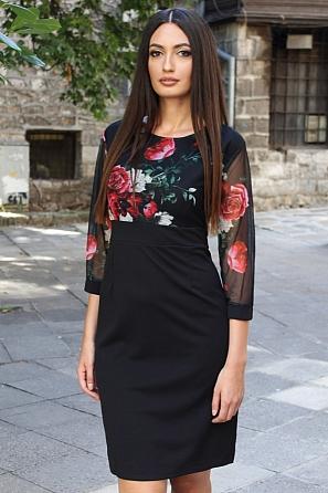 Красива дамска рокля с флорална горна част 8811