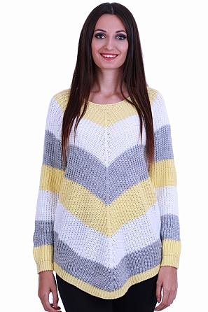 Дамски пуловер на широки райета 8565