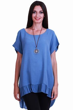 Красива едноцветна дамска блуза с подарък аксесоар 8455