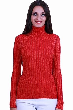 Дамски пуловер ламе фино плетиво с поло яка 8521