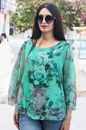 Шифонена флорална блуза с ефектен ръкав 8726