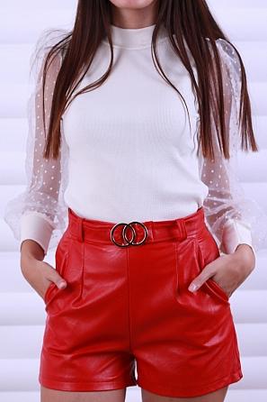 Стилни кожени дамски панталонки с колан с катарама 8625