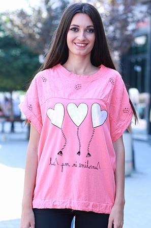 Памучна блуза с щампа сърца и шевици 8479