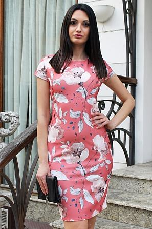 Елегантна дамска рокля на големи флорални мотиви 9083