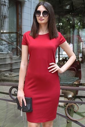 Едноцветна дамска рокля с къси ръкави 9072