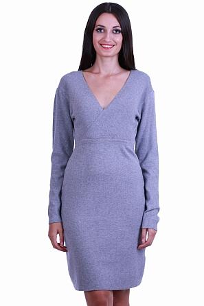 Дамска рокля фино плетиво с V-образно деколте и връзки 8511