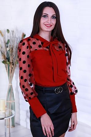 Красива дамска блуза с панделка и големи точки 8632