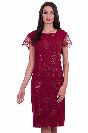 Луксозна дамска рокля с бродерия и пайети 8530
