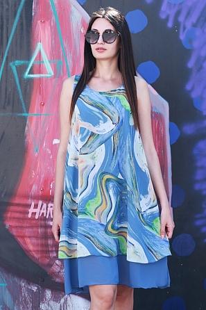 Елегантна шифонена дамска рокля на цветни мотиви 8777
