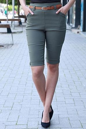 Еластичен едноцветен 3/4 панталон с колан 8750