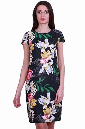 Елегантна дамска рокля с красиви флорални мотиви 8325