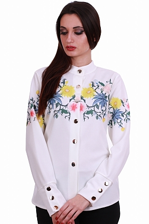 Стилна дамска риза с цветни мотиви 8319