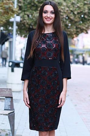 Луксозна рокля с бродерия цветя, пайети и 7/8 ръкав 8582