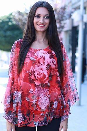 Шифонена флорална блуза с ефектен ръкав 8308