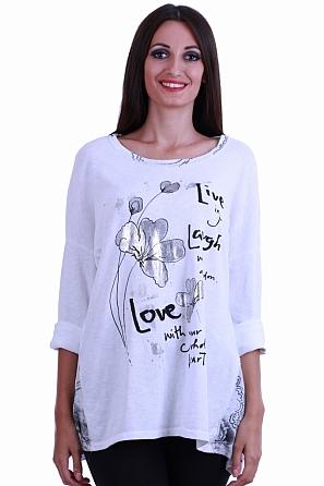 Памучна блуза с щампа цвете с дълги ръкави 8539