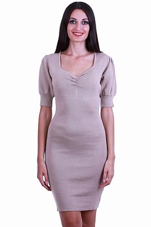Дамска рокля фино плетиво със стилно деколте и буфан ръкави 8512