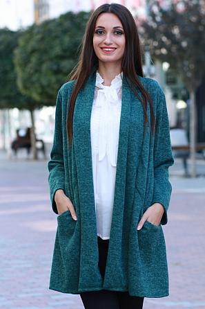 Стилна дамска жилетка с джобове и дълги ръкави 8580