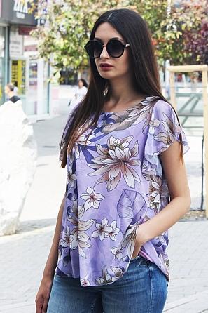 Шифонена дамска блуза с флорални мотиви 8771