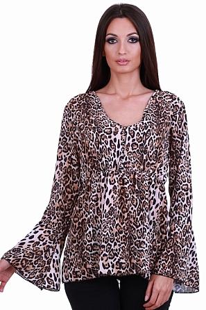 Стилна дамска блуза с животински шарки 81352