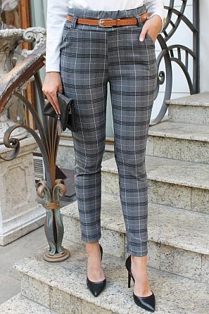 Еластичен дамски панталон на едри карета 9107