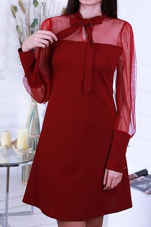 Стилна дамска рокля с панделка и копчета на ръкавите 8649