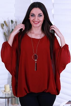 Едноцветна дамска блуза с прилеп ръкав и аксесоар 8721
