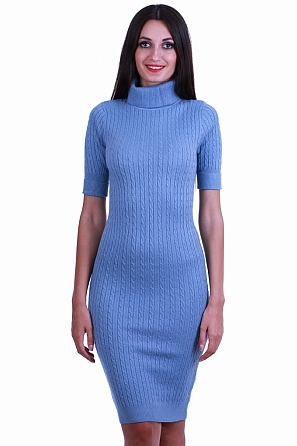Дамска рокля фино плетиво с красиви плетеници 8516