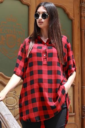 Ежедневна дамска блуза на едро каре с къс ръкав 87492