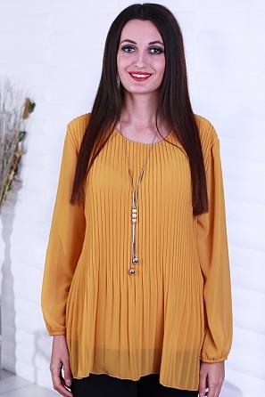Шифонена дамска блуза солей с подарък аксесоар 8819