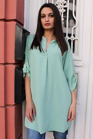 Дамска блуза/туника с къси ръкави и релефни елементи 9040