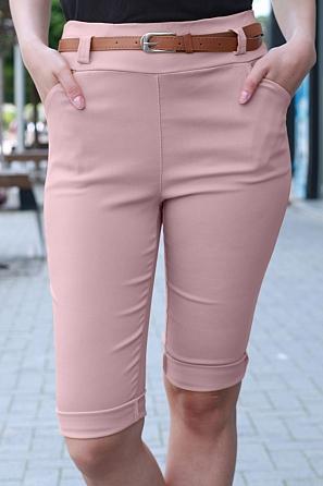 Еластичен едноцветен 3/4 панталон с колан 9017