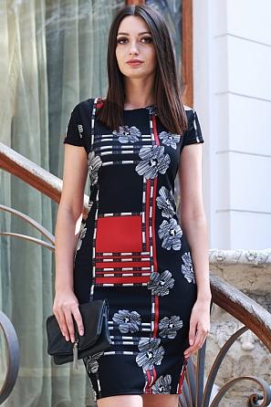 Стилна дамска рокля на геометрични мотиви и цветя 9166