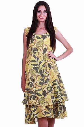 6df3e0ce5e8 Памучна дамска рокля с мотиви листа 8475