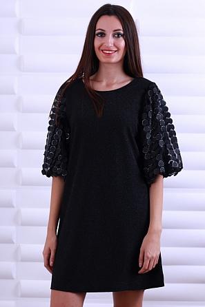 Стилна дамска рокля ламе с ефектни 3D ръкави 8608