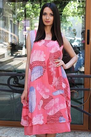 Памучна лятна дамска рокля на цветни мотиви 9094