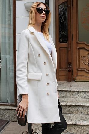 Двуредно дамско палто с хастар 9186