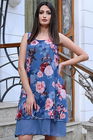 Свободна шифонена дамска рокля на цветя 9076