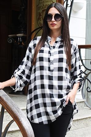 Ежедневна дамска блуза на едро каре с дълъг ръкав 88032