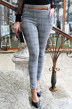 Дамски панталон на каре с подарък колан 90021