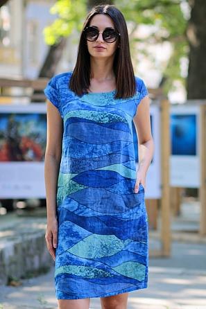 Ленена цветна свободна дамска рокля 9065