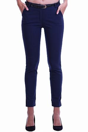 Еластичен едноцветен дамски панталон с колан 8502