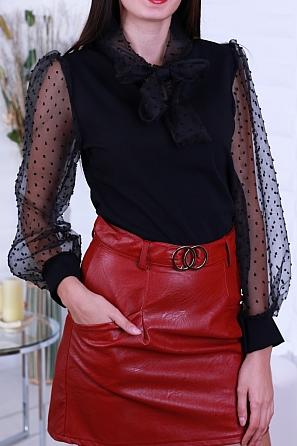 Елегантна дамска блуза с буфан ръкави и панделка 8630