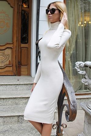 Дамска рокля фино плетиво с поло яка 8515